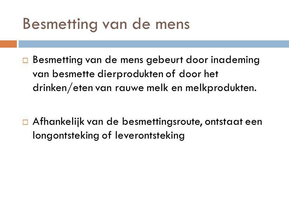 Preventie  Vaccinatie, niet beschikbaar in Nederland  Algemene maatregelen  Voorkomen van ziekte bij dieren  Vaccinatie van dieren  Niet uitrijden van mest, indien Q-koorts positief