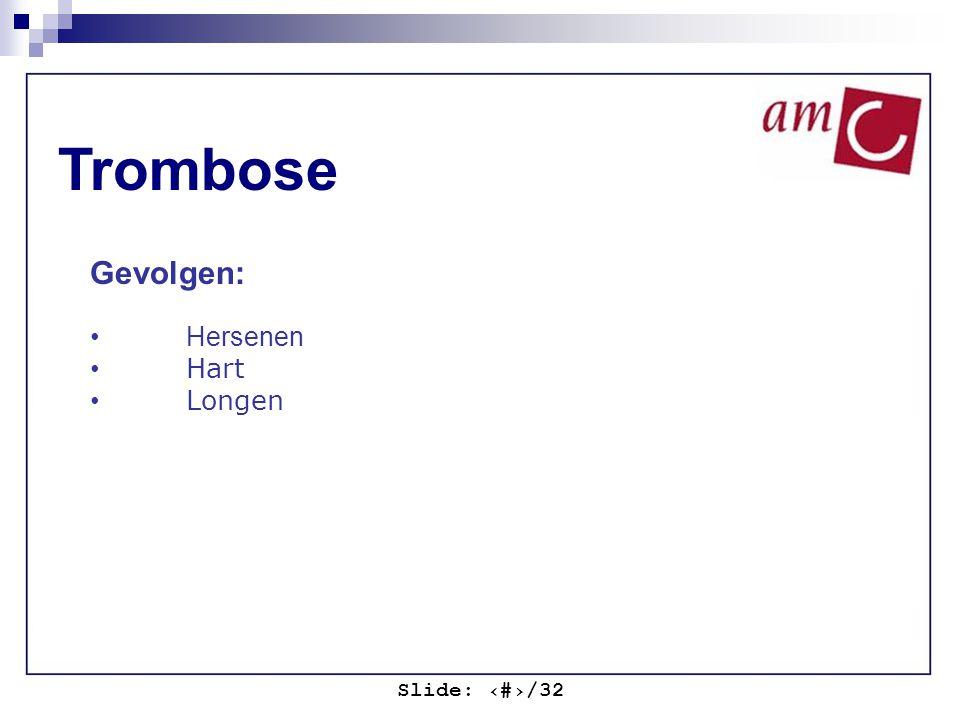 Slide: ‹#›/32 Trombose Gevolgen: Hersenen Hart Longen