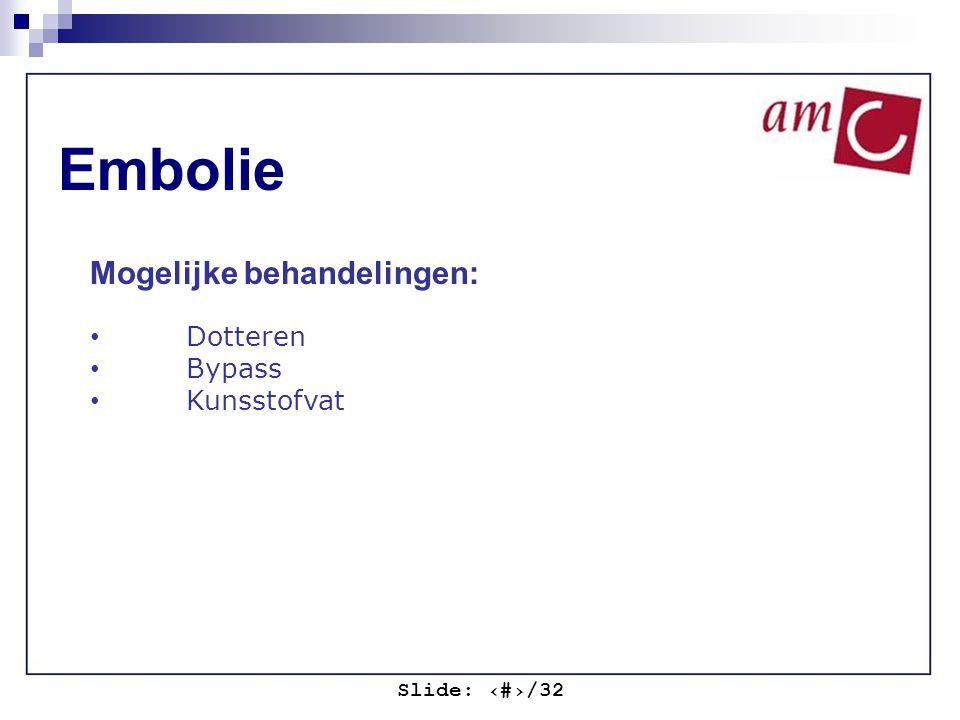 Slide: ‹#›/32 Embolie Mogelijke behandelingen: Dotteren Bypass Kunsstofvat