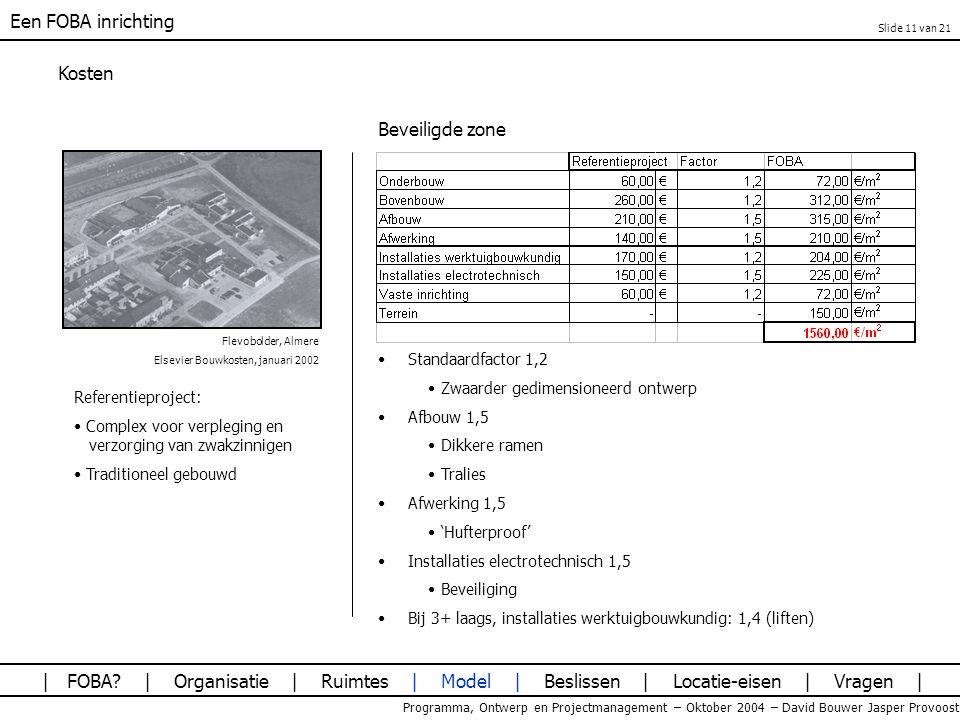 Een FOBA inrichting Programma, Ontwerp en Projectmanagement – Oktober 2004 – David Bouwer Jasper Provoost Kosten Beveiligde zone Flevobolder, Almere E