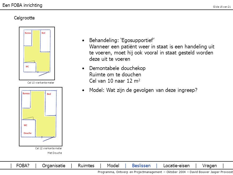 Een FOBA inrichting Programma, Ontwerp en Projectmanagement – Oktober 2004 – David Bouwer Jasper Provoost Celgrootte Behandeling: 'Egosupportief' Wann