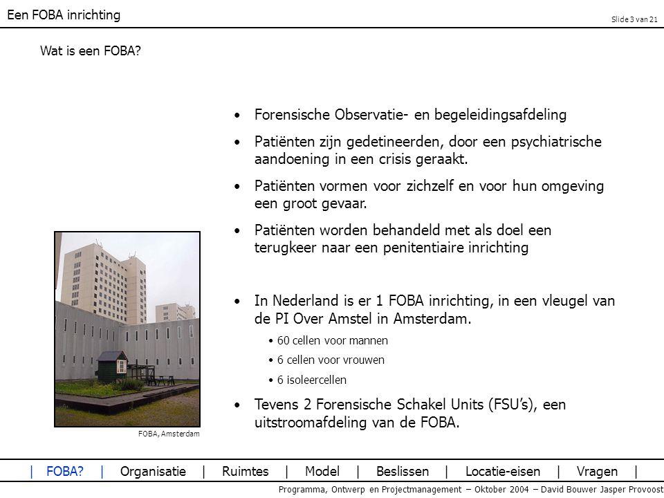 Een FOBA inrichting Programma, Ontwerp en Projectmanagement – Oktober 2004 – David Bouwer Jasper Provoost Laagbouw versus Hoogbouw Afvlakkende lijn naarmate het aantal verdiepingen toeneemt 1, 5 en 10 lagen vallen af Patiënten gevarieerd; BVO geminimaliseerd 1a: 1laag 2a: 2 lagen, paviljoens BG 2b: 2 lagen, paviljoens verdeeld 3a: 3 lagen, paviljoens verdeeld 4a: 4 lagen, paviljoens verdeeld 5a: 5 lagen, paviljoens verdeeld 10a: paviljoens verdeeld | FOBA.