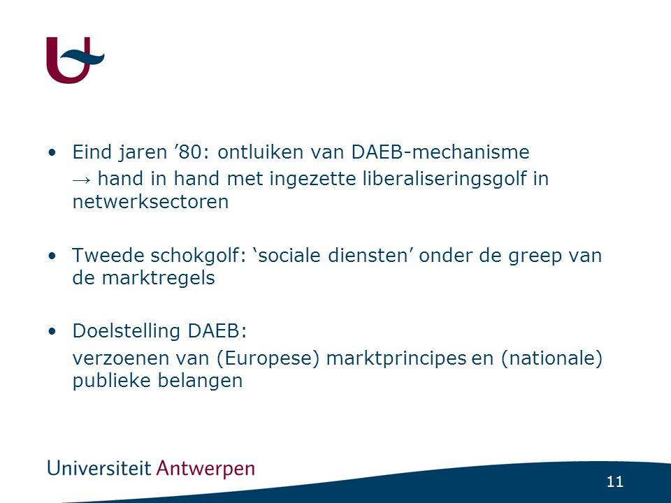 11 Eind jaren '80: ontluiken van DAEB-mechanisme → hand in hand met ingezette liberaliseringsgolf in netwerksectoren Tweede schokgolf: 'sociale diensten' onder de greep van de marktregels Doelstelling DAEB: verzoenen van (Europese) marktprincipes en (nationale) publieke belangen