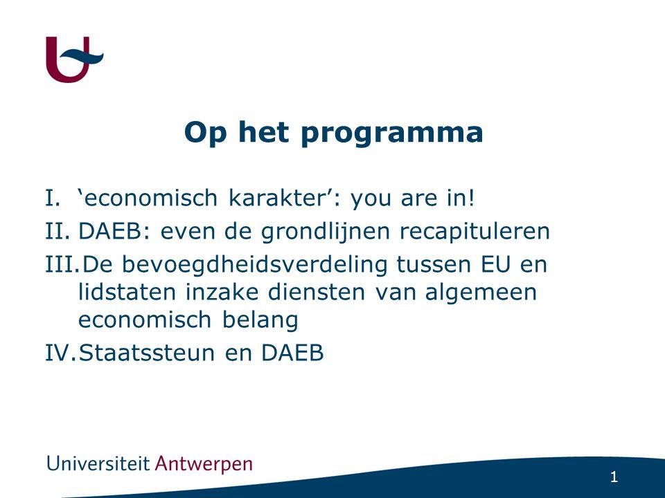 1 Op het programma I.'economisch karakter': you are in.