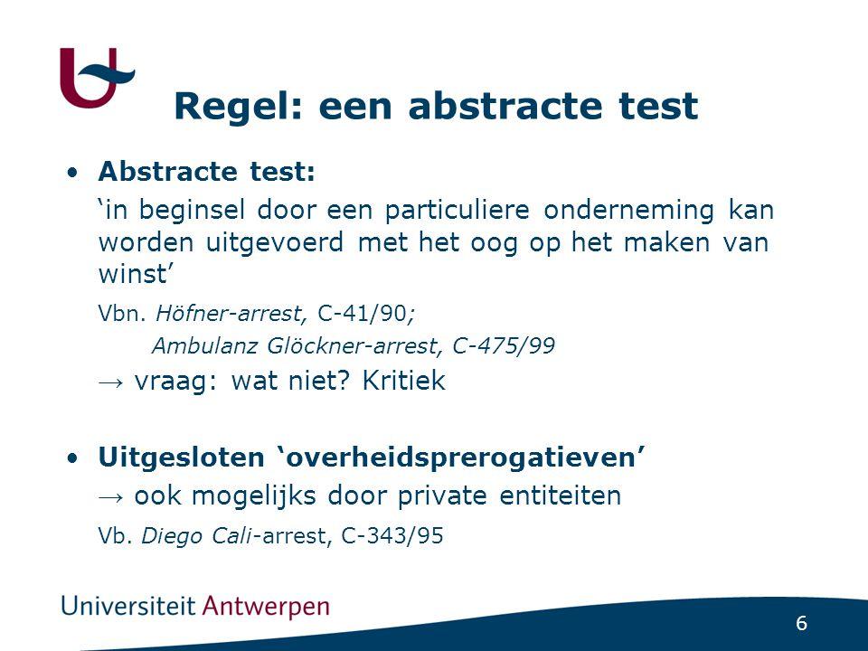 6 Regel: een abstracte test Abstracte test: 'in beginsel door een particuliere onderneming kan worden uitgevoerd met het oog op het maken van winst' Vbn.