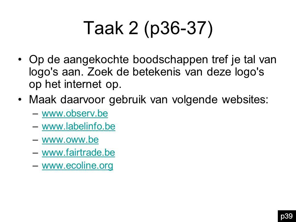 Taak 2 (p36-37) Op de aangekochte boodschappen tref je tal van logo's aan. Zoek de betekenis van deze logo's op het internet op. Maak daarvoor gebruik