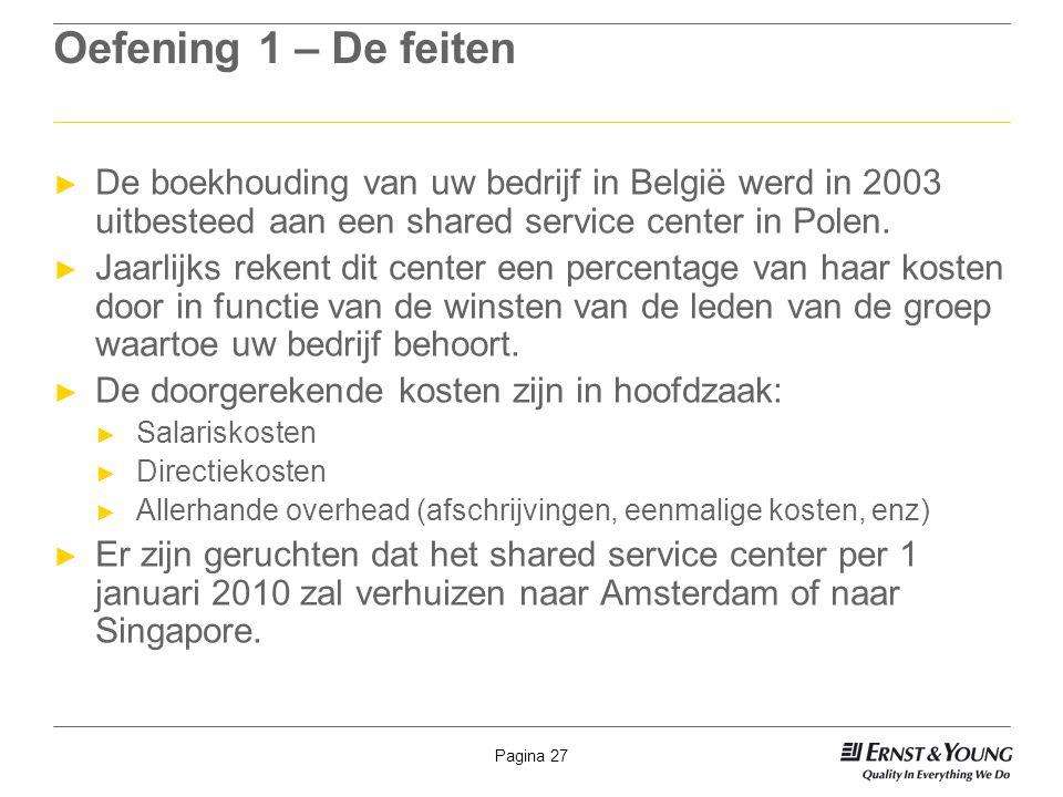 Pagina 27 Oefening 1 – De feiten ► De boekhouding van uw bedrijf in België werd in 2003 uitbesteed aan een shared service center in Polen. ► Jaarlijks