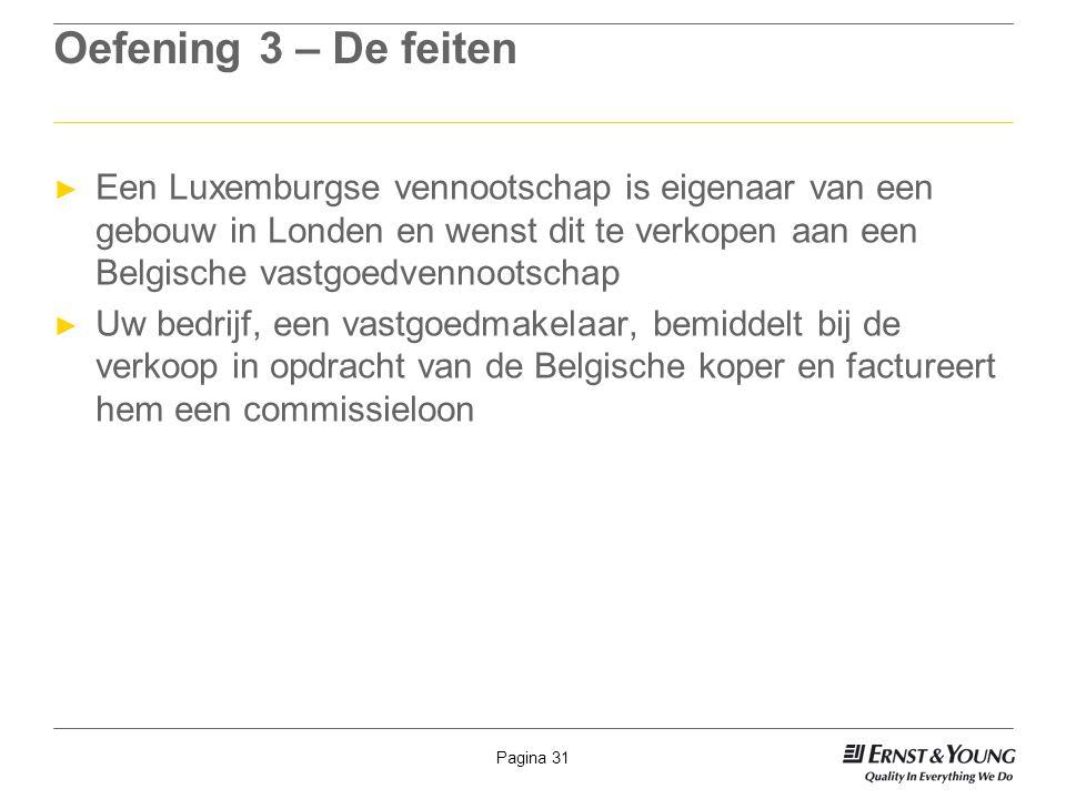 Pagina 31 Oefening 3 – De feiten ► Een Luxemburgse vennootschap is eigenaar van een gebouw in Londen en wenst dit te verkopen aan een Belgische vastgo