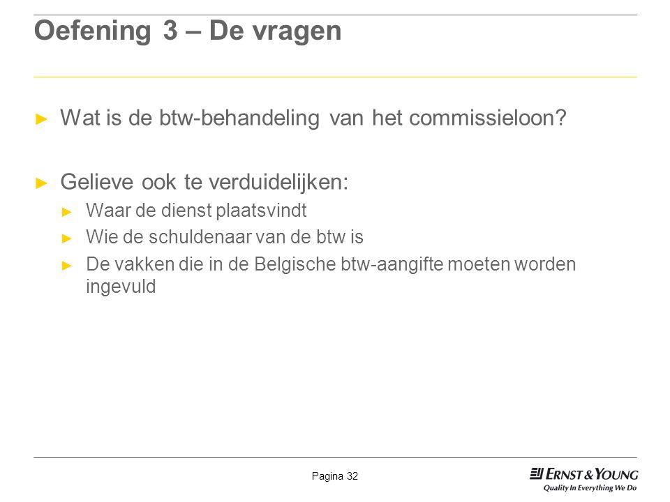 Pagina 32 Oefening 3 – De vragen ► Wat is de btw-behandeling van het commissieloon? ► Gelieve ook te verduidelijken: ► Waar de dienst plaatsvindt ► Wi