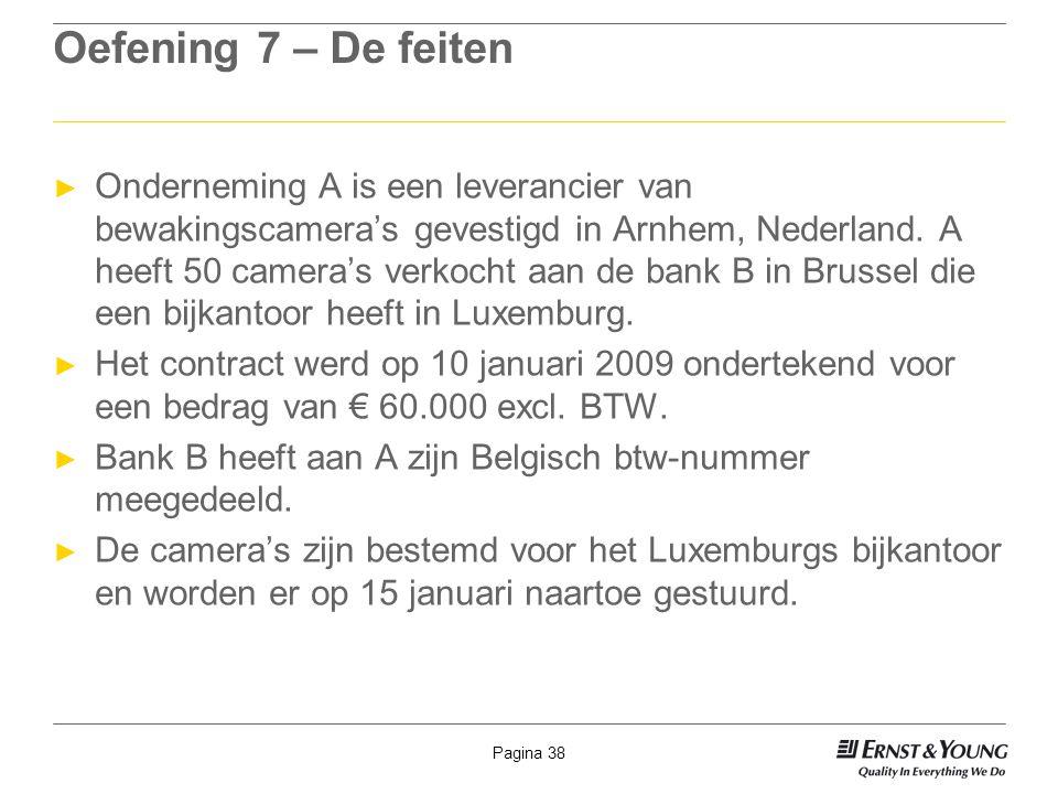 Pagina 38 Oefening 7 – De feiten ► Onderneming A is een leverancier van bewakingscamera's gevestigd in Arnhem, Nederland. A heeft 50 camera's verkocht