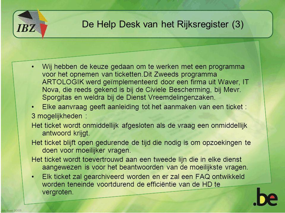 De Help Desk van het Rijksregister (3) Wij hebben de keuze gedaan om te werken met een programma voor het opnemen van ticketten.Dit Zweeds programma ARTOLOGIK werd geïmplementeerd door een firma uit Waver, IT Nova, die reeds gekend is bij de Civiele Bescherming, bij Mevr.