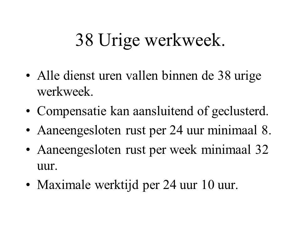 38 Urige werkweek. Alle dienst uren vallen binnen de 38 urige werkweek.
