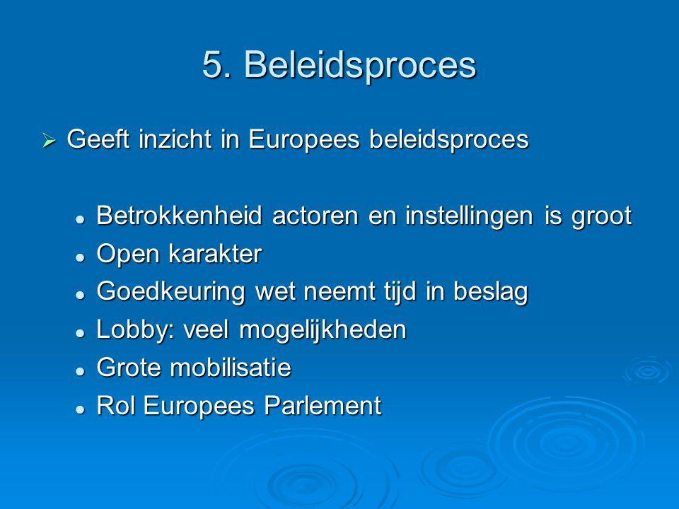 5. Beleidsproces  Geeft inzicht in Europees beleidsproces Betrokkenheid actoren en instellingen is groot Betrokkenheid actoren en instellingen is gro