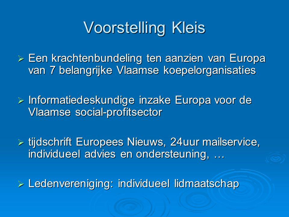 Voorstelling Kleis  Een krachtenbundeling ten aanzien van Europa van 7 belangrijke Vlaamse koepelorganisaties  Informatiedeskundige inzake Europa voor de Vlaamse social-profitsector  tijdschrift Europees Nieuws, 24uur mailservice, individueel advies en ondersteuning, …  Ledenvereniging: individueel lidmaatschap