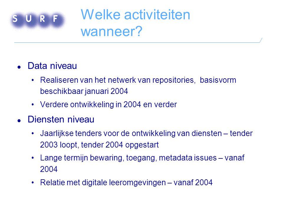 Wie doen mee? Alle Nederlandse universiteiten, KB, KNAW en NWO Stichting SURF coördineert Overheid subsidieert via NAP met 2 mln Euro