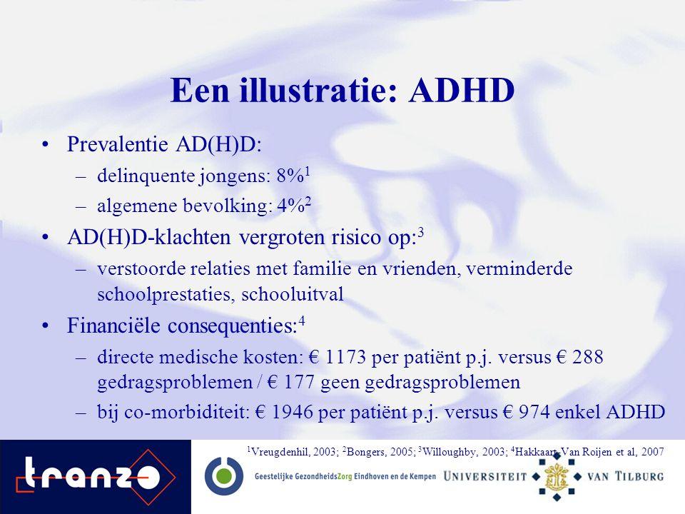 Een illustratie: ADHD Prevalentie AD(H)D: –delinquente jongens: 8% 1 –algemene bevolking: 4% 2 AD(H)D-klachten vergroten risico op: 3 –verstoorde rela