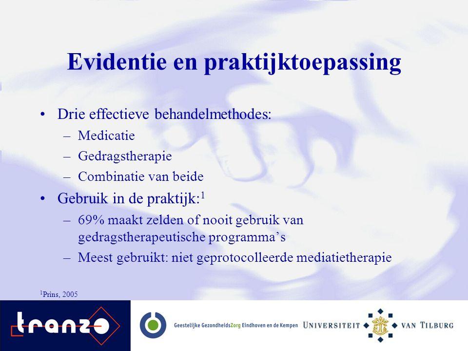 Evidentie en praktijktoepassing Drie effectieve behandelmethodes: –Medicatie –Gedragstherapie –Combinatie van beide Gebruik in de praktijk: 1 –69% maa
