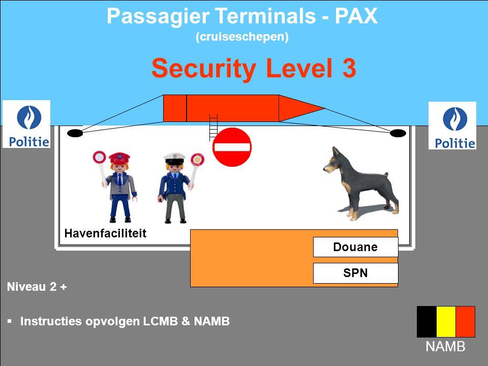 Niveau 1 +  Verhoogd toezicht door bewakingspatrouille  Toegangcontrole metaaldetector Security Level 2 Havenfaciliteit Douane SPN Passagier Terminals - PAX (cruiseschepen)