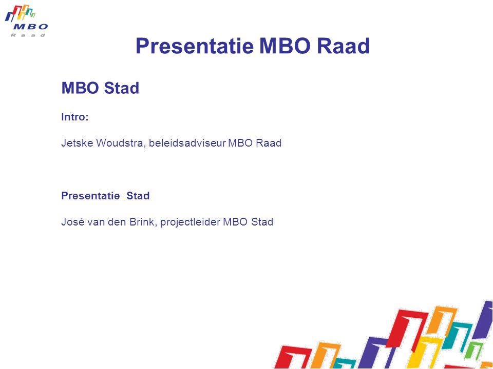 Presentatie MBO Raad MBO Stad Intro: Jetske Woudstra, beleidsadviseur MBO Raad Presentatie Stad José van den Brink, projectleider MBO Stad