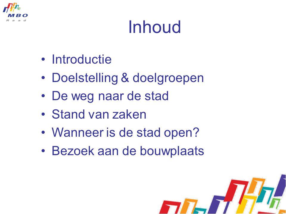Inhoud Introductie Doelstelling & doelgroepen De weg naar de stad Stand van zaken Wanneer is de stad open.