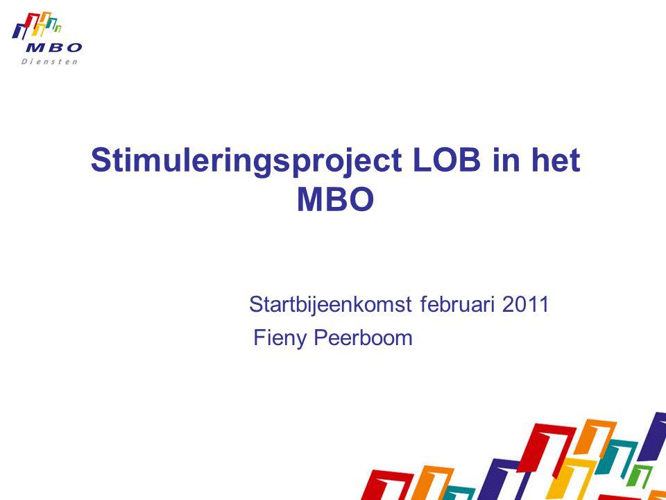 Stimuleringsproject LOB in het MBO Startbijeenkomst februari 2011 Fieny Peerboom