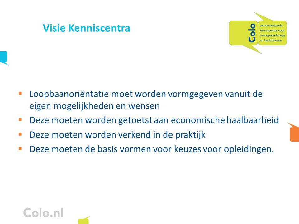 Visie Kenniscentra  Loopbaanoriëntatie moet worden vormgegeven vanuit de eigen mogelijkheden en wensen  Deze moeten worden getoetst aan economische haalbaarheid  Deze moeten worden verkend in de praktijk  Deze moeten de basis vormen voor keuzes voor opleidingen.