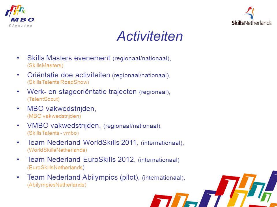 Activiteiten Skills Masters evenement (regionaal/nationaal), (SkillsMasters) Oriëntatie doe activiteiten (regionaal/nationaal), (SkillsTalents RoadShow) Werk- en stageoriëntatie trajecten (regionaal), (TalentScout) MBO vakwedstrijden, (MBO vakwedstrijden) VMBO vakwedstrijden, (regionaal/nationaal), (SkillsTalents - vmbo) Team Nederland WorldSkills 2011, (internationaal), (WorldSkillsNetherlands) Team Nederland EuroSkills 2012, (internationaal) (EuroSkillsNetherlands ) Team Nederland Abilympics (pilot), (internationaal), (AbilympicsNetherlands)