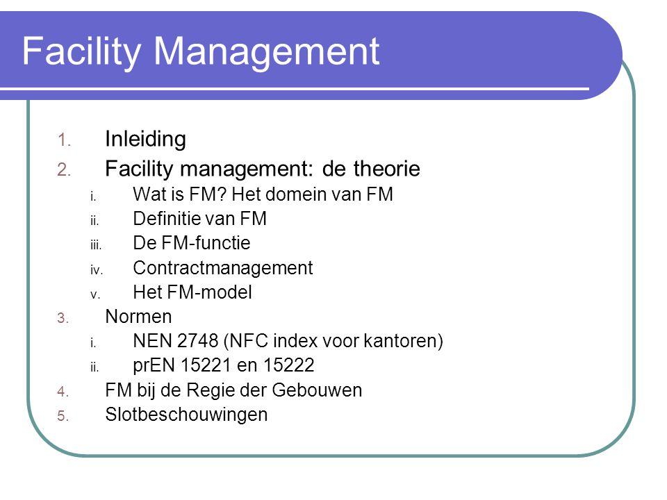 Facility Management 1. Inleiding 2. Facility management: de theorie i. Wat is FM? Het domein van FM ii. Definitie van FM iii. De FM-functie iv. Contra