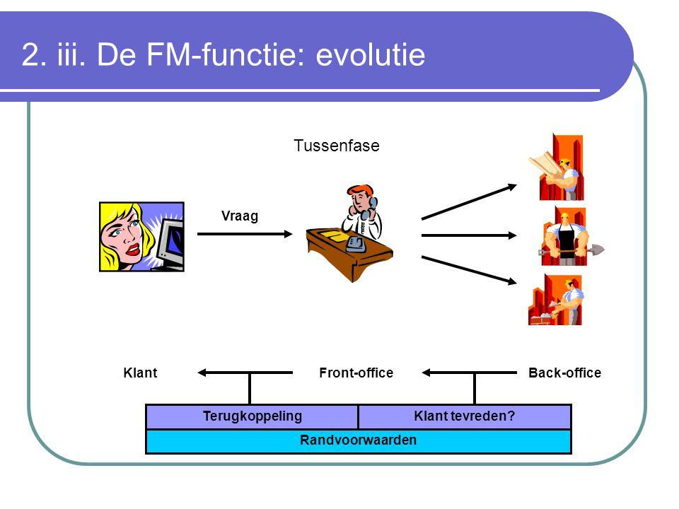 2. iii. De FM-functie: evolutie KlantFront-officeBack-office Vraag TerugkoppelingKlant tevreden? Randvoorwaarden Tussenfase