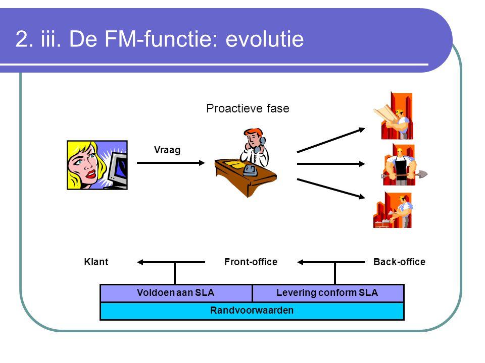2. iii. De FM-functie: evolutie KlantFront-officeBack-office Vraag Voldoen aan SLALevering conform SLA Randvoorwaarden Proactieve fase