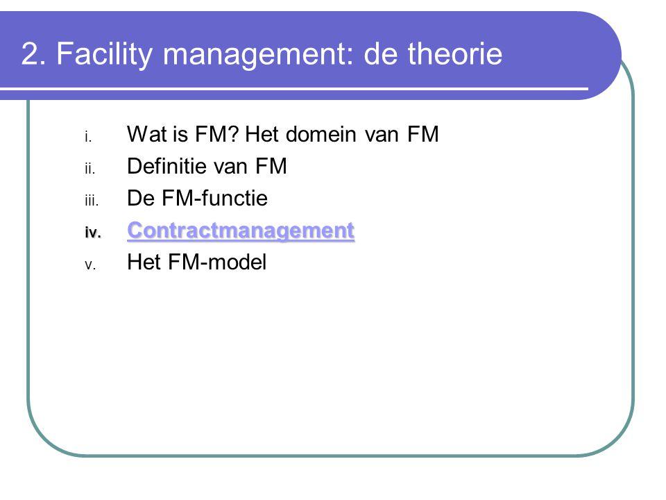 2. Facility management: de theorie i. Wat is FM? Het domein van FM ii. Definitie van FM iii. De FM-functie iv. Contractmanagement v. Het FM-model