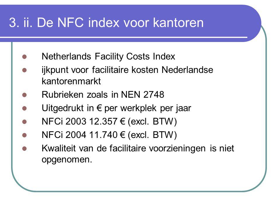 3. ii. De NFC index voor kantoren Netherlands Facility Costs Index ijkpunt voor facilitaire kosten Nederlandse kantorenmarkt Rubrieken zoals in NEN 27