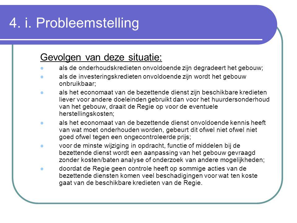4. i. Probleemstelling Gevolgen van deze situatie: als de onderhoudskredieten onvoldoende zijn degradeert het gebouw; als de investeringskredieten onv