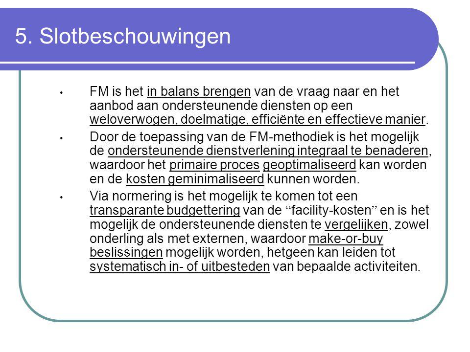 5. Slotbeschouwingen FM is het in balans brengen van de vraag naar en het aanbod aan ondersteunende diensten op een weloverwogen, doelmatige, efficiën