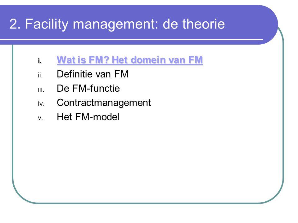 2.Facility management: de theorie i. Wat is FM. Het domein van FM ii.