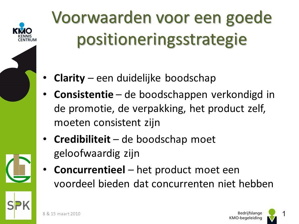 Voorwaarden voor een goede positioneringsstrategie Clarity – een duidelijke boodschap Consistentie – de boodschappen verkondigd in de promotie, de ver