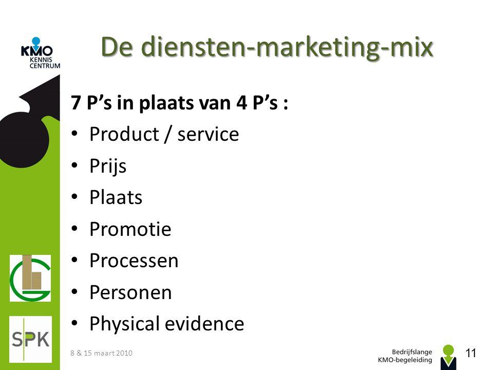 De diensten-marketing-mix 7 P's in plaats van 4 P's : Product / service Prijs Plaats Promotie Processen Personen Physical evidence 8 & 15 maart 2010 1