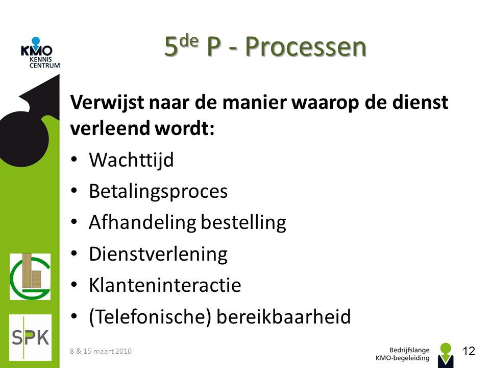 5 de P - Processen Verwijst naar de manier waarop de dienst verleend wordt: Wachttijd Betalingsproces Afhandeling bestelling Dienstverlening Klantenin