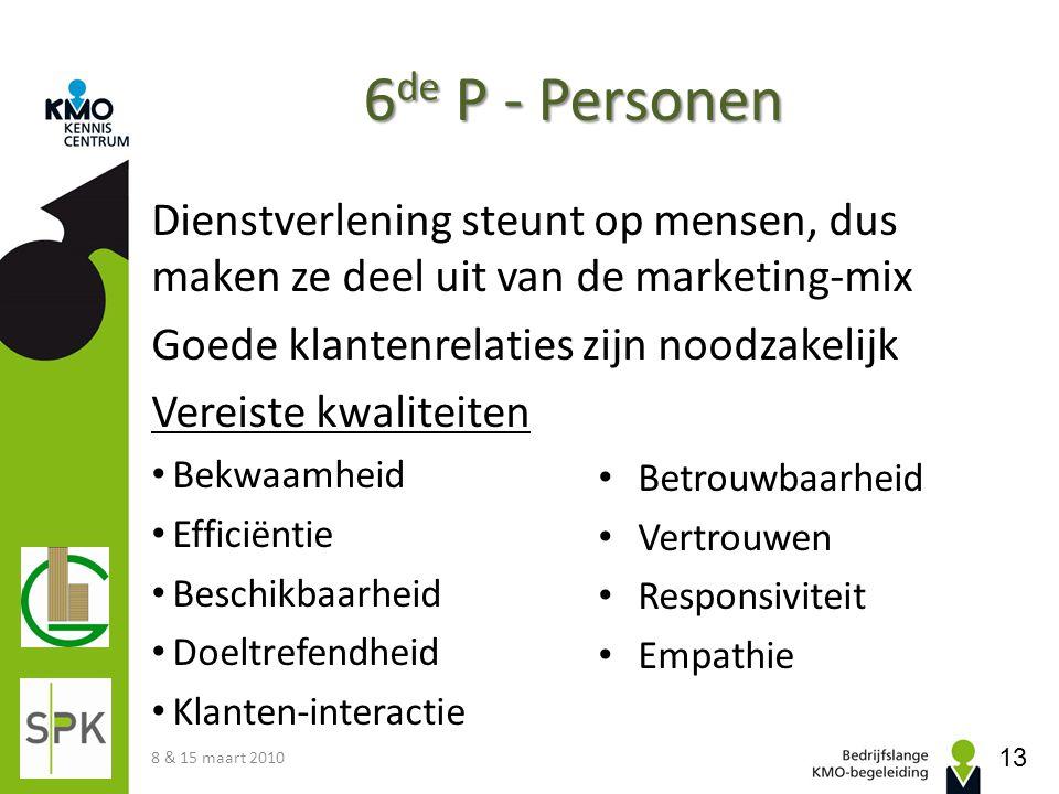 Dienstverlening steunt op mensen, dus maken ze deel uit van de marketing-mix Goede klantenrelaties zijn noodzakelijk Vereiste kwaliteiten Bekwaamheid