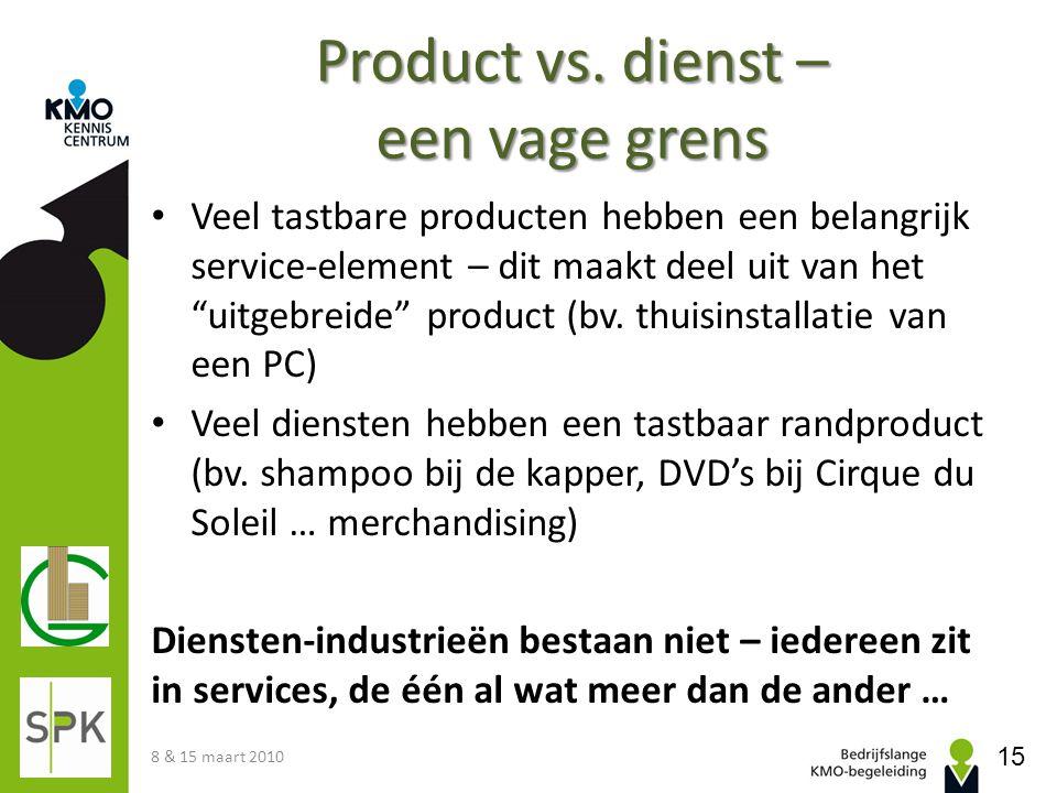 """Product vs. dienst – een vage grens Veel tastbare producten hebben een belangrijk service-element – dit maakt deel uit van het """"uitgebreide"""" product ("""