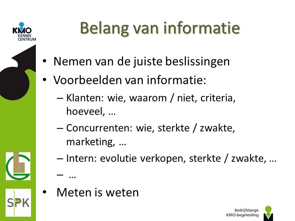 Belang van informatie Nemen van de juiste beslissingen Voorbeelden van informatie: – Klanten: wie, waarom / niet, criteria, hoeveel, … – Concurrenten:
