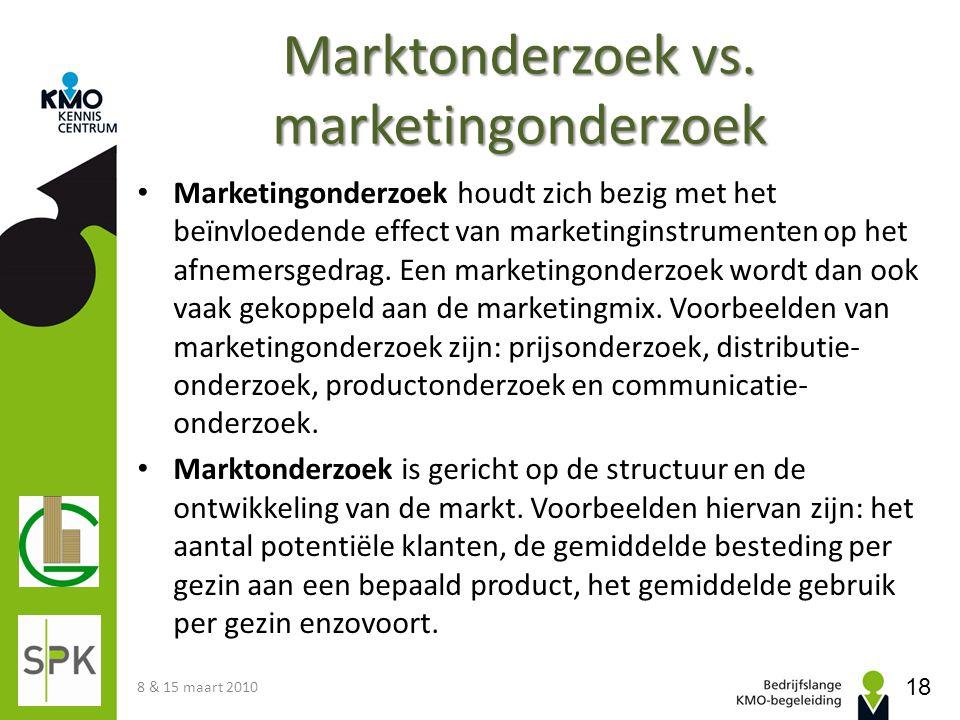 Marktonderzoek vs. marketingonderzoek Marketingonderzoek houdt zich bezig met het beïnvloedende effect van marketinginstrumenten op het afnemersgedrag