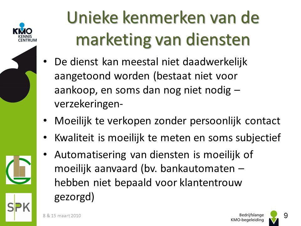 Unieke kenmerken van de marketing van diensten De dienst kan meestal niet daadwerkelijk aangetoond worden (bestaat niet voor aankoop, en soms dan nog