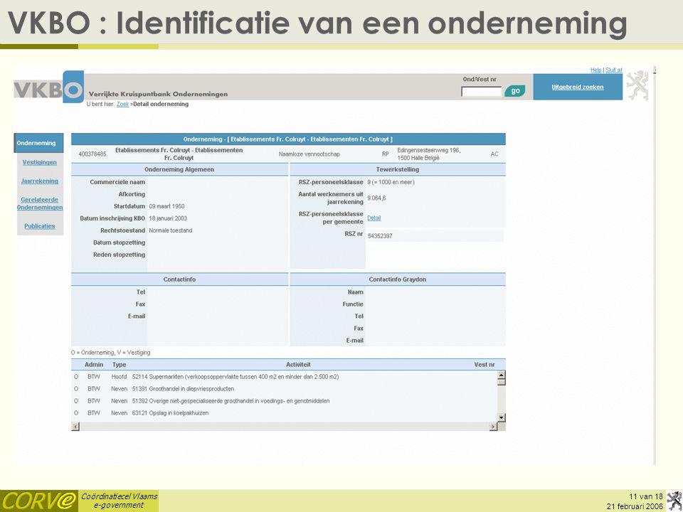Coördinatiecel Vlaams e-government 11 van 18 21 februari 2006 VKBO : Identificatie van een onderneming