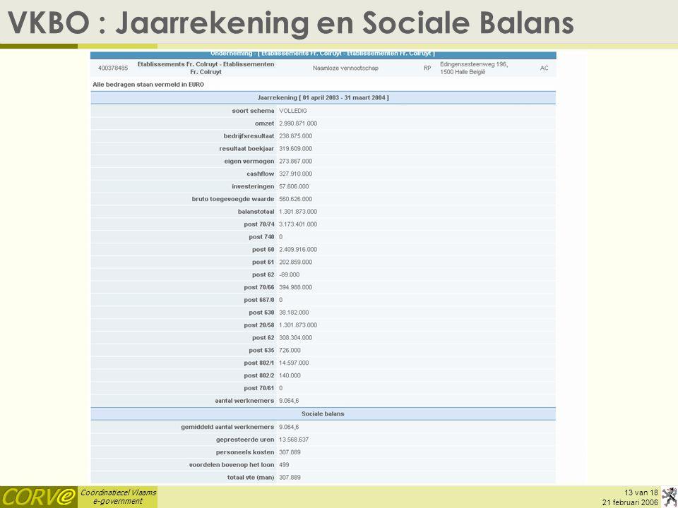 Coördinatiecel Vlaams e-government 13 van 18 21 februari 2006 VKBO : Jaarrekening en Sociale Balans