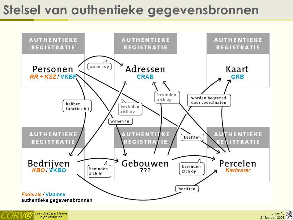 Coördinatiecel Vlaams e-government 3 van 18 21 februari 2006 Stelsel van authentieke gegevensbronnen Federale / Vlaamse authentieke gegevensbronnen RR