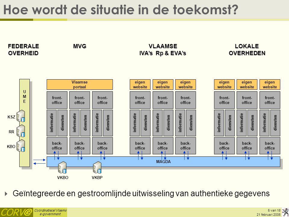 Coördinatiecel Vlaams e-government 5 van 18 21 februari 2006 MAGDA Hoe wordt de situatie in de toekomst? informatie diensten informatie diensten infor
