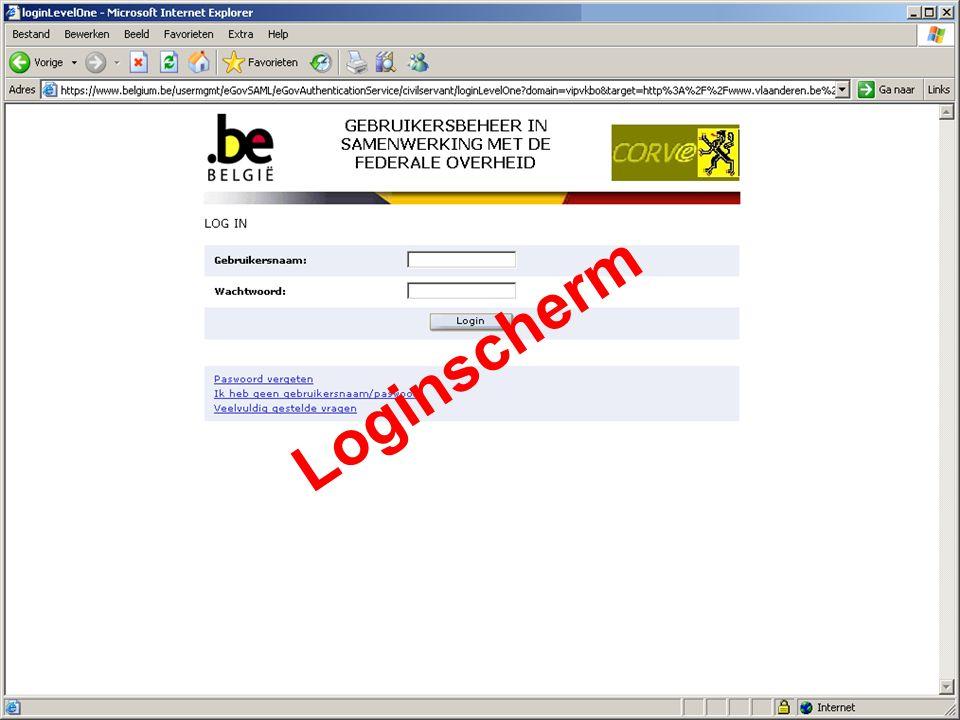 Coördinatiecel Vlaams e-government 9 van 18 21 februari 2006 Loginscherm