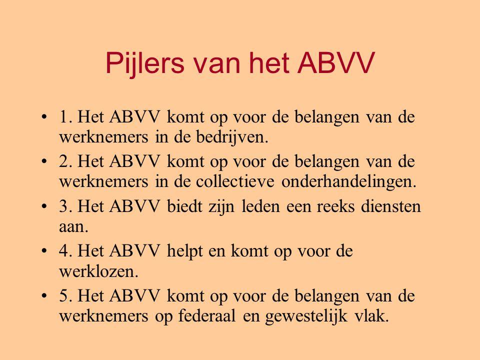 Pijlers van het ABVV 1. Het ABVV komt op voor de belangen van de werknemers in de bedrijven. 2. Het ABVV komt op voor de belangen van de werknemers in