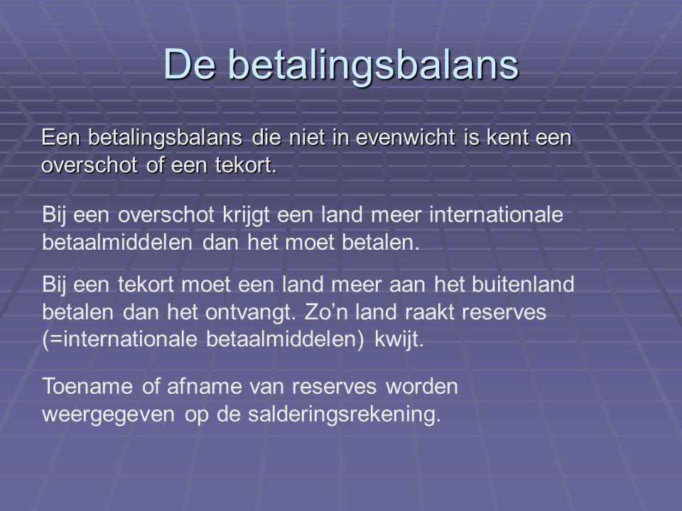 De betalingsbalans Een betalingsbalans die niet in evenwicht is kent een overschot of een tekort.
